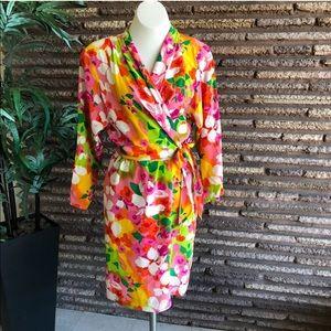 SILK! Diane Von Furstenberg floral faux wrap dress